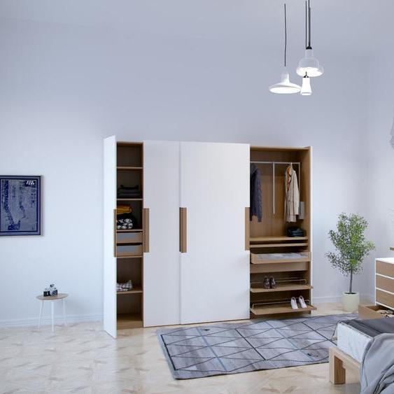 Kleiderschrank Weiß - Individueller Designer-Kleiderschrank - 304 x 233 x 65 cm, Selbst Designen, Schuhauszug/Kleiderstange/hohe Schublade/Schublade Glasfront/Kleiderlift