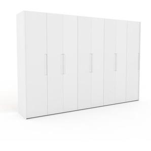 Kleiderschrank Weiß - Individueller Designer-Kleiderschrank - 344 x 233 x 62 cm, Selbst Designen, Kleiderstange/Schublade Glasfront