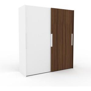 Kleiderschrank Weiß/Nussbaum - Individueller Designer-Kleiderschrank - 204 x 233 x 65 cm, Selbst Designen, Schuhauszug/Schublade Glasfront/Kleiderlift/Hosenhalter