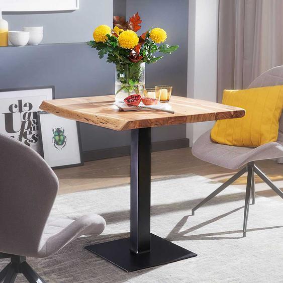 Kleiner Esstisch mit Baumkante Akazie Massivholz und Edelstahl