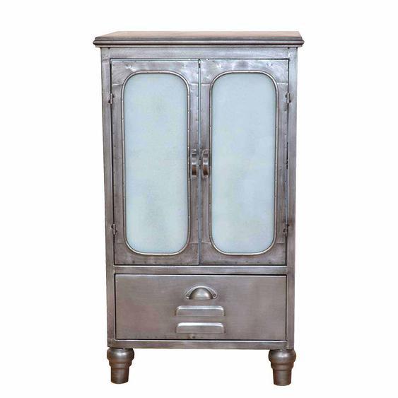 Kleiner Schrank aus Metall Milchglas Türen