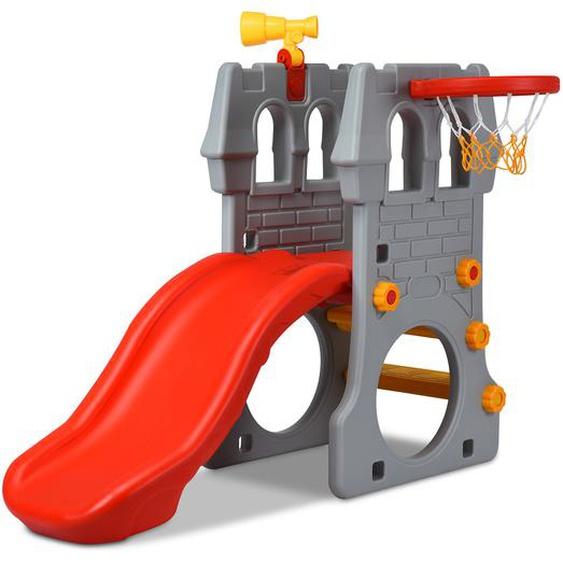 Kleinkindrutsche Kinderrutsche Kinderschlossrutsche mit Basketballkorb und Teleskopspielzeug