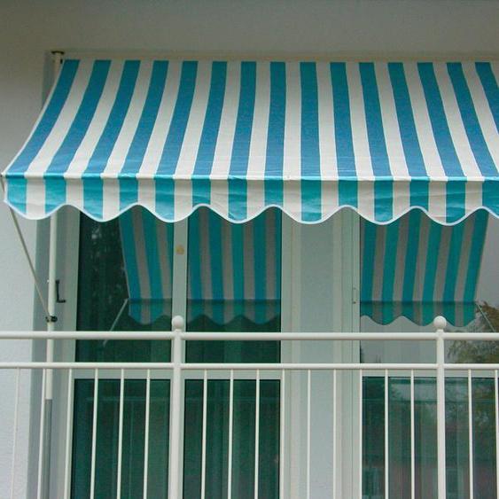 Klemmmarkise blau/weiß, Breite 150 cm, Angerer Freizeitmöbel, blau, Material Polyethylen, Stahl, gestreift