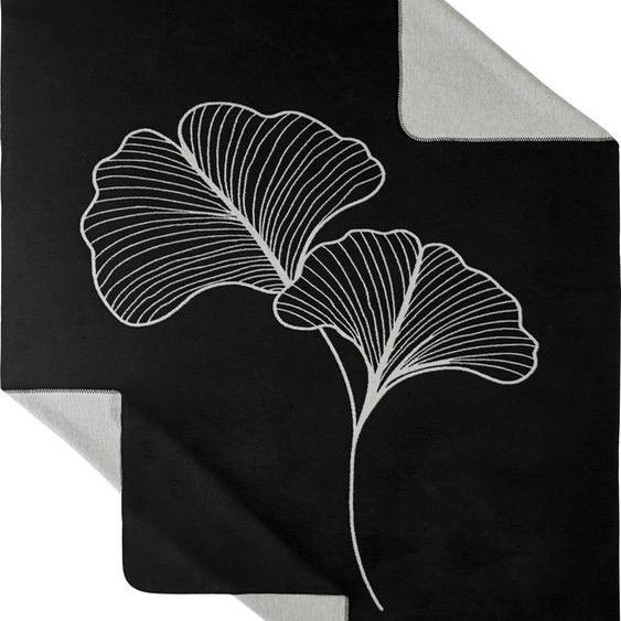 Kneer Wohndecke Motiv, wahlweise mit LKW, Gingko oder Hirsch B/L: 150 cm x 200 schwarz Decken SOFORT LIEFERBARE Wohntextilien