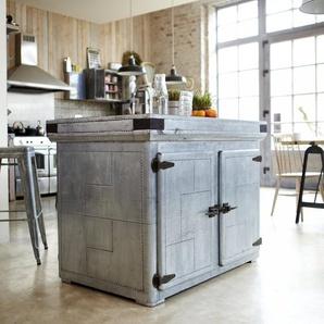 Kochinsel Kücheninsel Küchenschrank zentral Industriedesign Loft Küche aus Zink