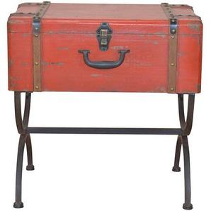 Koffer Beistelltisch in Rot Schwarz Metall