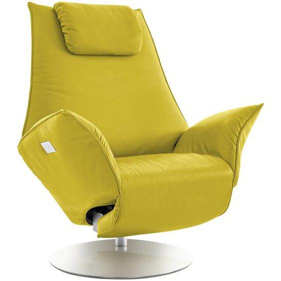 Koinor Relaxsessel Echtleder Relaxfunktion, Kopfteilverstellung, Fußteilverstellung , Gelb , Leder , 92x79-113x90-165 cm