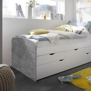 Kojenbett mit Ausziehliege in Beton-Optik mit Absetzungen in weiß, 3 Schubladen, Maße: B/H/T ca. 96/64/206 cm, 2 x Liegefläche: 90 x 200 cm