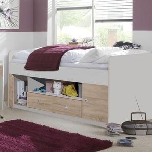 Weißes Kojenbett mit Stauraum in Schubladen und Fächern - Prea