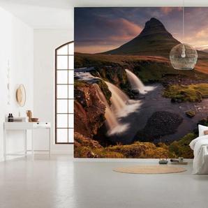 Komar Fototapete Guten Morgen auf Isländisch, mehrfarbig-natürlich-bedruckt B/L: 4 m x 2,5 m, 8 St. braun Fototapeten Tapeten Bauen Renovieren