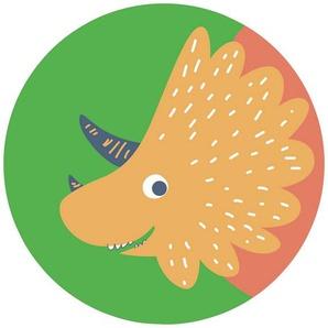 Komar Fototapete »Little Dino Trice«, glatt, bedruckt, Comic, Retro, mehrfarbig, BxH: 128x128 cm, selbstklebend