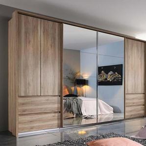 Kombi-Schwebetürenschrank 6-trg. in Sanremo Eiche-Nachbildung mit 2 Schwebe-Spiegeltüren, 4 Drehtüren, 2 Schubkästen, Maße: B/H/T ca. 361/210/62 cm