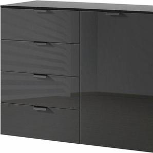 Kombikommode, schwarz, 100x42x80 cm, mit Schubkästen, Express Solutions