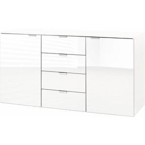 Kombikommode, weiß, 140x42x80 cm, mit Schubkästen, Express Solutions