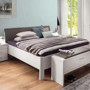 Komfort-Doppelbett weiß mit braunem Kopfteil 180x210 cm - Castelli