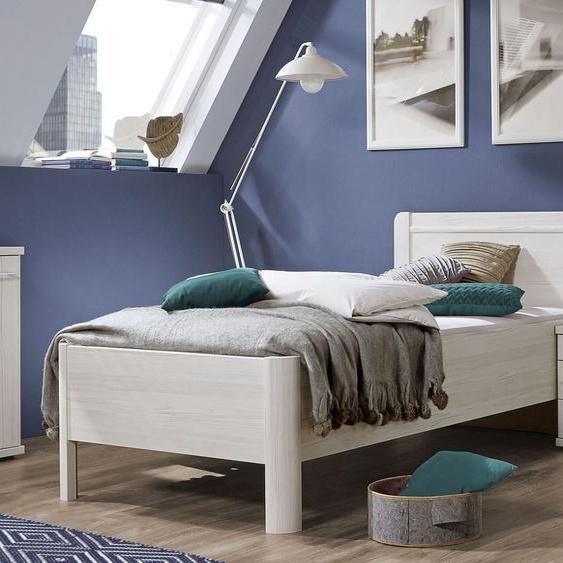 Komfort-Einzelbett Apolda, Lärche hell, 90x200 cm, Bettrahmenhöhe 53  cm – mit Bettschubkasten
