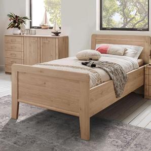 Komfort-Einzelbett 120x190 cm in Dekor mit Holz-Kopfteil - Herdorf