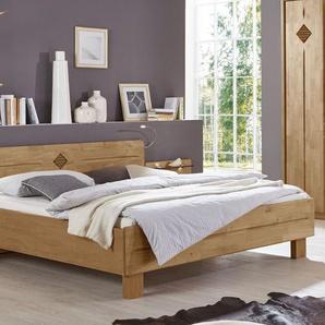 Komfortbett in Erle teilmassiv mit hohem Kopfteil 180x200 cm - Aliano