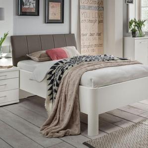 Weißes Komfortbett mit Kopfteilpolster 90x190 cm - Castelli