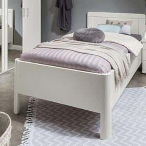Weißes Bettgestell mit Rahmen in Komforthöhe 100x200 cm - Cavallino