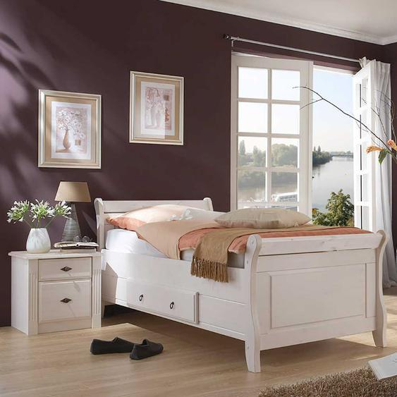 Komfortbett in Weiß Kiefer teilmassiv Nachtkommode (2-teilig)