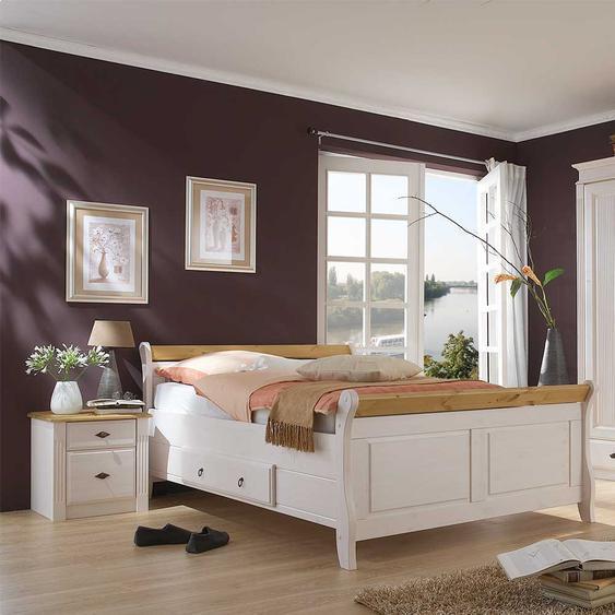 Komfortbett in Weiß Kiefer massiv Nachtkommoden (3-teilig)