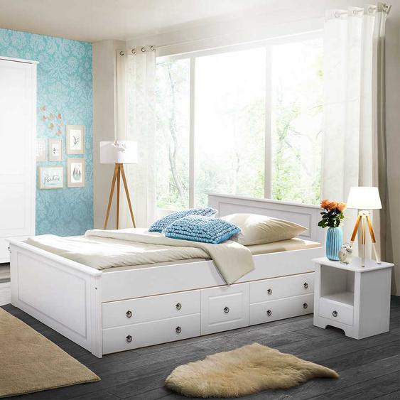 Komfortbett in Weiß Kiefer massiv Schubkästen (3-teilig)