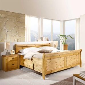 Komfortbett mit Nachtkommoden aus Kiefer Massivholz Landhaus (dreiteilig)
