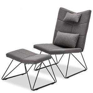 Komfortsessel in Grau Webstoff Skandi Design (2-teilig)