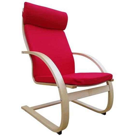 Komfortsessel in Rot Webstoff Wippfunktion