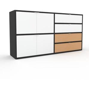 Kommode Anthrazit - Lowboard: Schubladen in Buche & Türen in Weiß - Hochwertige Materialien - 152 x 80 x 35 cm, konfigurierbar