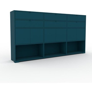 Kommode Blau - Lowboard: Schubladen in Blau & Türen in Blau - Hochwertige Materialien - 226 x 120 x 35 cm, konfigurierbar