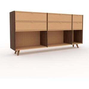 Kommode Nussbaum - Design-Lowboard: Schubladen in Buche - Hochwertige Materialien - 190 x 91 x 35 cm, Selbst zusammenstellen