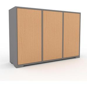 Kommode Grau - Design-Lowboard: Türen in Buche - Hochwertige Materialien - 118 x 81 x 35 cm, Selbst zusammenstellen