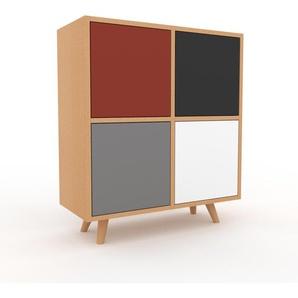 Kommode Buche - Design-Lowboard: Türen in Grau - Hochwertige Materialien - 79 x 91 x 35 cm, Selbst zusammenstellen