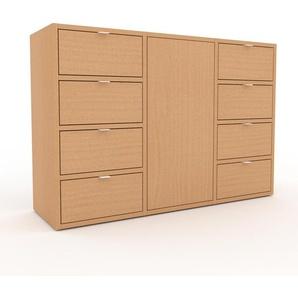 Kommode Buche - Lowboard: Schubladen in Buche & Türen in Buche - Hochwertige Materialien - 118 x 80 x 35 cm, konfigurierbar