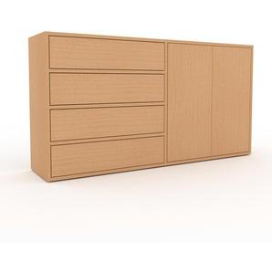 Kommode Buche - Lowboard: Schubladen in Buche & Türen in Buche - Hochwertige Materialien - 152 x 80 x 35 cm, konfigurierbar