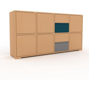 Kommode Buche - Lowboard: Schubladen in Buche & Türen in Buche - Hochwertige Materialien - 156 x 81 x 35 cm, konfigurierbar