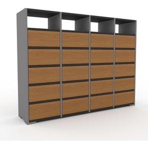 Kommode Grau - Design-Lowboard: Schubladen in Eiche - Hochwertige Materialien - 156 x 120 x 35 cm, Selbst zusammenstellen