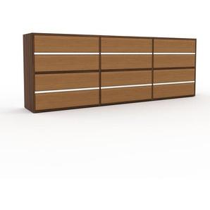 Kommode Nussbaum - Design-Lowboard: Schubladen in Eiche - Hochwertige Materialien - 226 x 80 x 35 cm, Selbst zusammenstellen