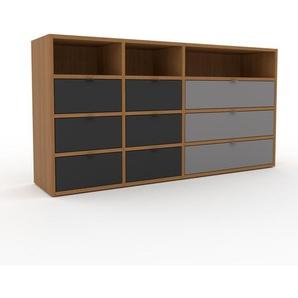 Kommode Eiche - Design-Lowboard: Schubladen in Anthrazit - Hochwertige Materialien - 154 x 80 x 35 cm, Selbst zusammenstellen