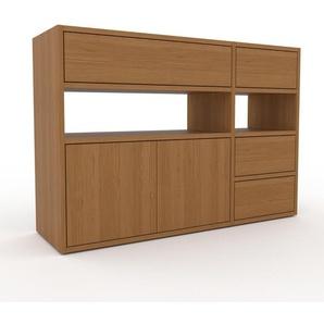 Kommode Eiche - Lowboard: Schubladen in Eiche & Türen in Eiche - Hochwertige Materialien - 116 x 80 x 35 cm, konfigurierbar
