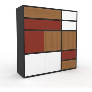 Kommode Anthrazit - Lowboard: Schubladen in Eiche & Türen in Weiß - Hochwertige Materialien - 116 x 118 x 35 cm, konfigurierbar