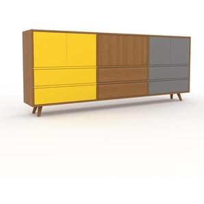 Kommode Eiche - Lowboard: Schubladen in Gelb & Türen in Gelb - Hochwertige Materialien - 226 x 91 x 35 cm, konfigurierbar