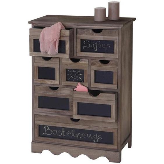 Kommode Ermelo, Schubladenschrank mit Tafel, Shabby-Look Vintage 87x60x30cm ~ braun