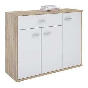 Kommode ESTELLE mit 3 Türen, 1 Schublade in Sonoma Eiche/weiß