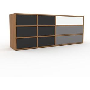 Kommode Eiche - Design-Lowboard: Schubladen in Anthrazit - Hochwertige Materialien - 154 x 61 x 35 cm, Selbst zusammenstellen
