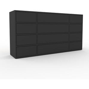 Kommode Anthrazit - Design-Lowboard: Schubladen in Anthrazit - Hochwertige Materialien - 154 x 80 x 35 cm, Selbst zusammenstellen