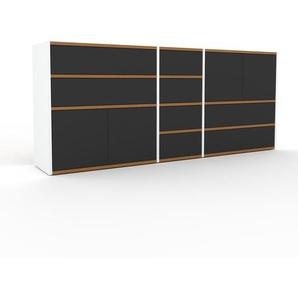 Kommode Weiß - Lowboard: Schubladen in Anthrazit & Türen in Anthrazit - Hochwertige Materialien - 190 x 80 x 35 cm, konfigurierbar