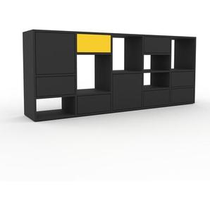 Kommode Anthrazit - Lowboard: Schubladen in Anthrazit & Türen in Anthrazit - Hochwertige Materialien - 195 x 80 x 35 cm, konfigurierbar